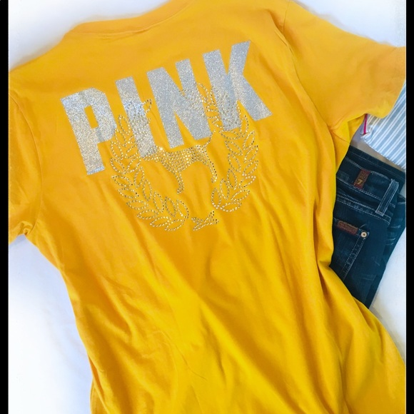 d06d552ba7cae On hold☀️PINK VS Yellow Bling Campus Tee Lg